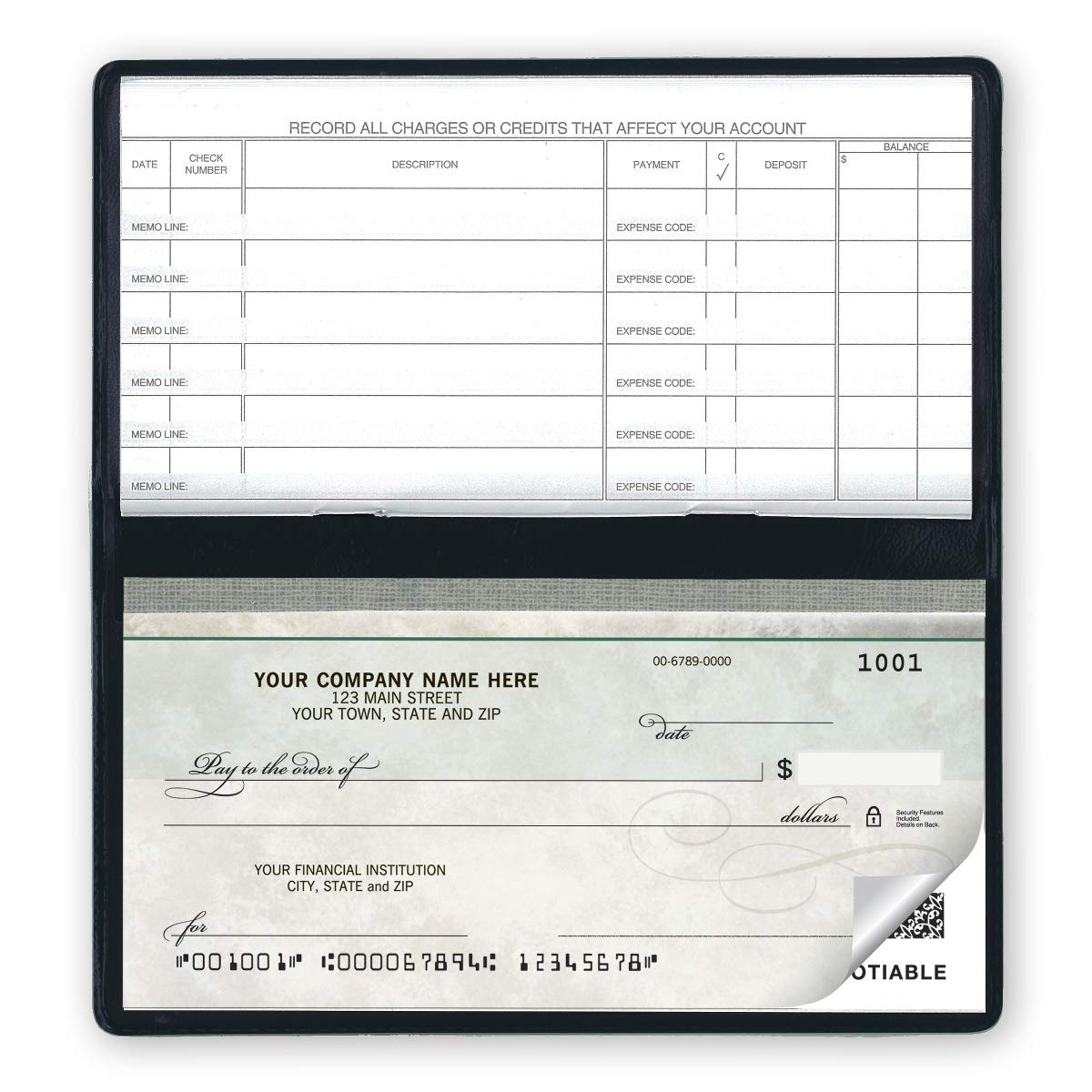 CheckSimple Compact Business Checks - Manual Personal Size Green Marble (2-Part) with Register (200 Checks) by CheckSimple