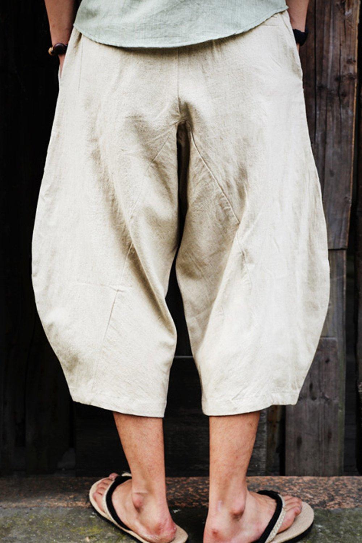 Aishang Men's Patchwork Shorts Elastic Waist Linen Loose Pocket Capris Joggers Harem Pants by Aishang (Image #3)