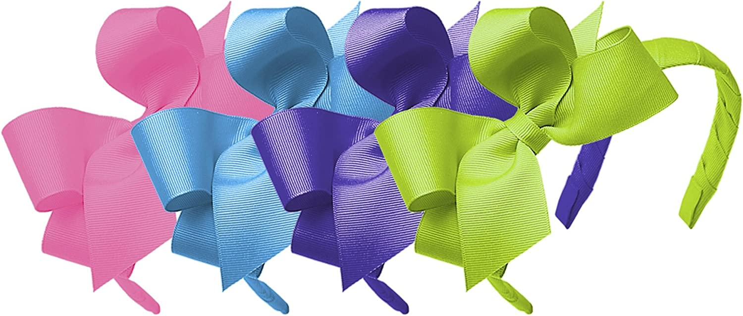 Hot Pink Delphinium and Apple Green Wee Ones Girls Classic Grosgrain Headband with Medium Bow 4pc Set Solid Variety Pack Island Blue