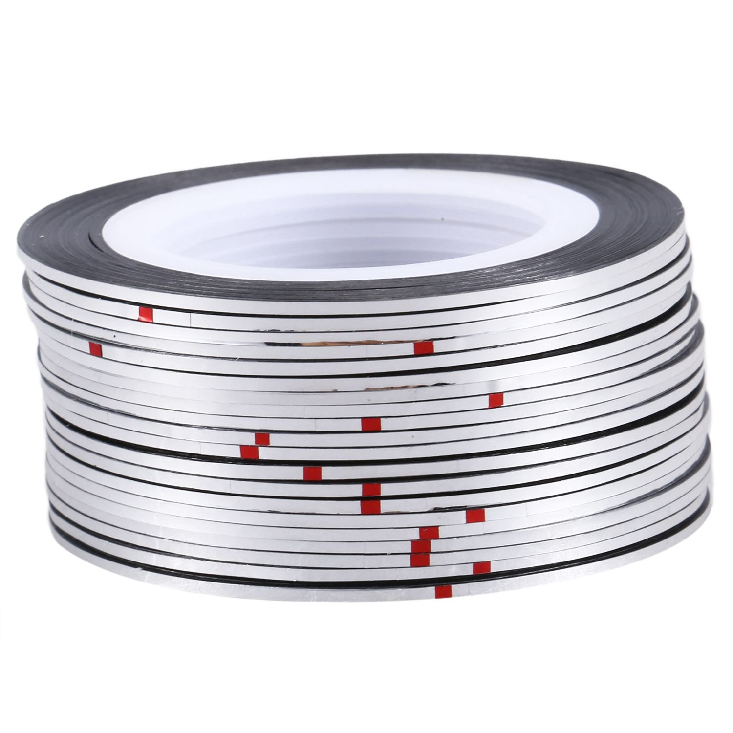 SODIAL 20pcs Nail Stickers Thread Strips Striping Tape Sticker Manicure Nail Art Tapes silver