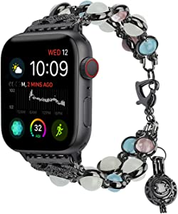 TILON For Apple Watch Band 38mm/40mm 42mm/44mm Series 6 5 4 3 2 1&SE, Adjustable Wristband Handmade Night Luminous Pearl iWatch Bracelet with Essential Oil/Perfume Storage Pendant for Women