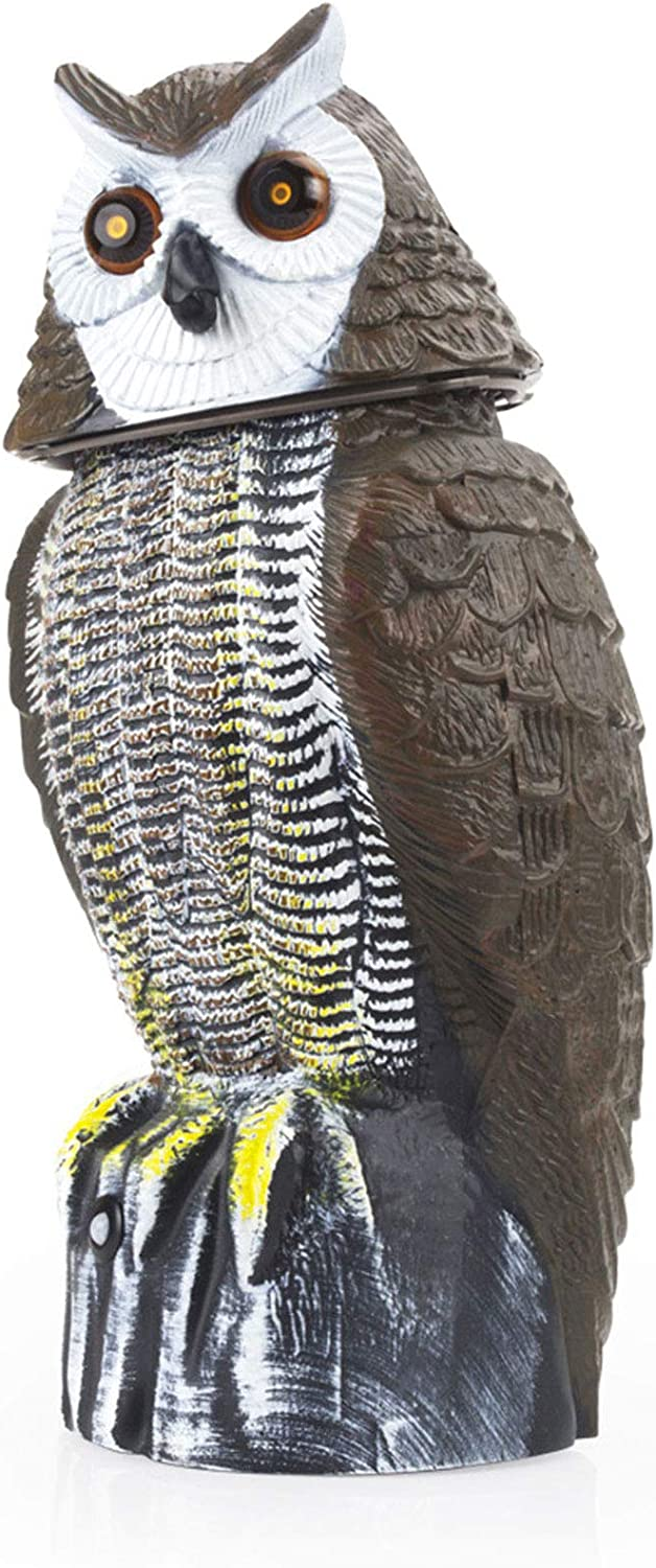 Redeo Motion Activated Owl Status Scarecrow with Solar Power Flashing Eyes & Scary Sound & Rotating Head Rabbit Birds Repellent Repeller 10-16 ft (Light Black)