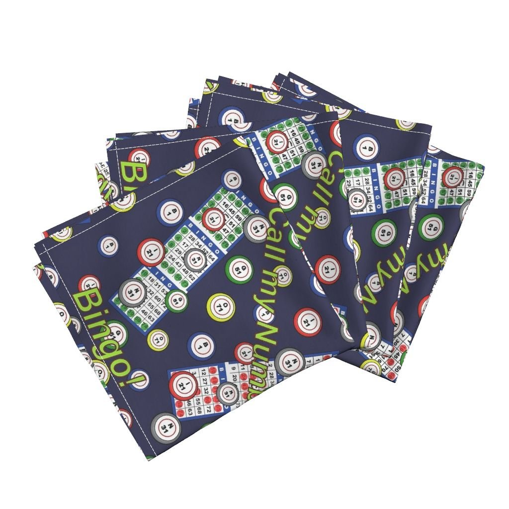 Roostery Bingo Organic Sateen Dinner Napkins Call My Number! by Dd Baz Set of 4 Cotton Dinner Napkins made by