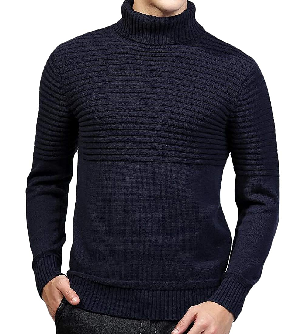 Pivaconis Mens Casual Turtleneck Ribbed Knit Pullover Juniors Jumper Sweaters