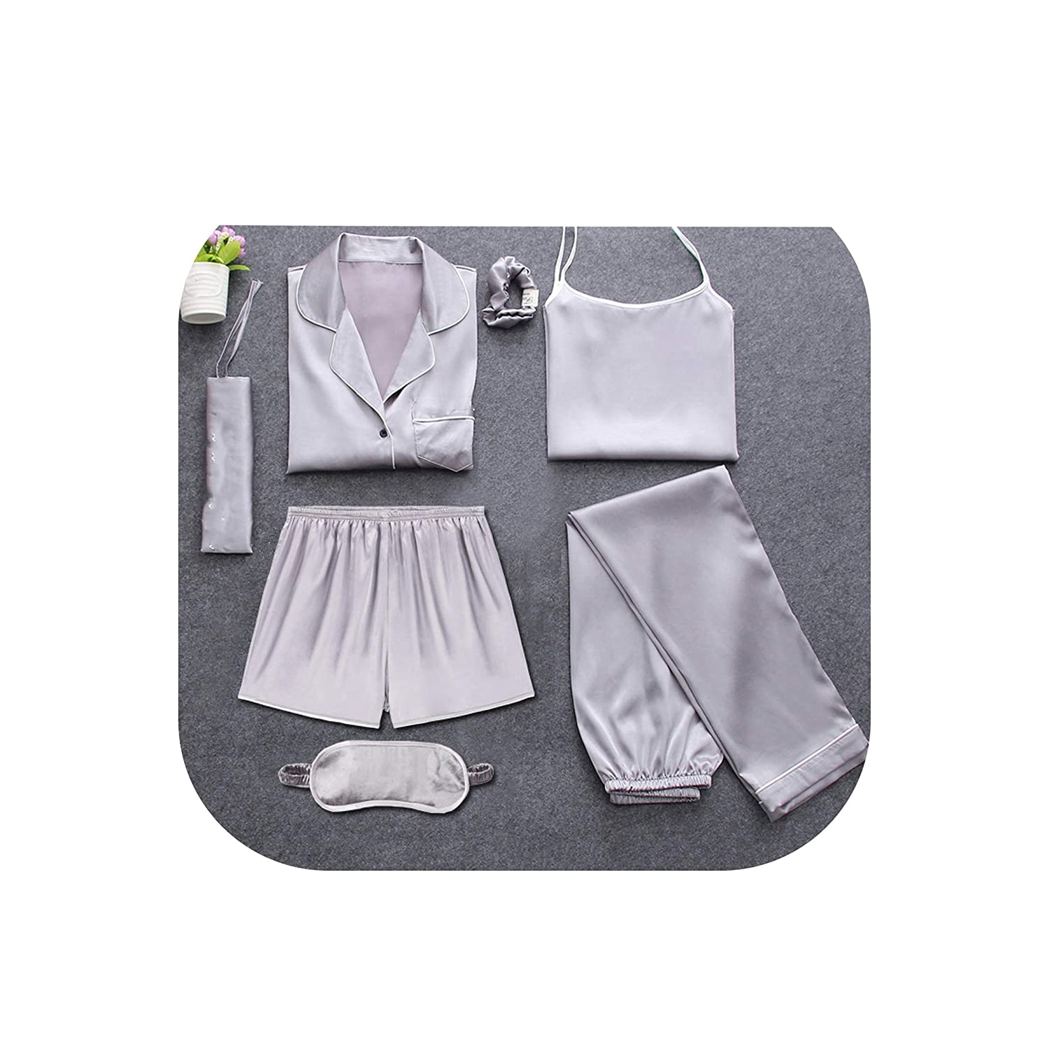 Sexy 7 Pieces Pajamas Sets Spring Sleep Suits Women Soft Sweet Cute,