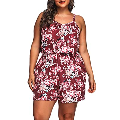 ANJUNIE Plus Size Floral Rompers for Women,Summer Printed Sleeveless V-Neck Short Jumpsuits Pant Trouser: Clothing