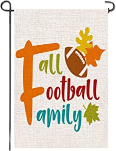 Tmtains Small Fall Garden Flag Football Family Leaves Rustic Burlap Autumn Thanksgiving Bunting Banner Vertical Double Sided Seasonal Flag Sign Yard Patio Porch Lawn Outdoor Decoration, 12x18 Inch