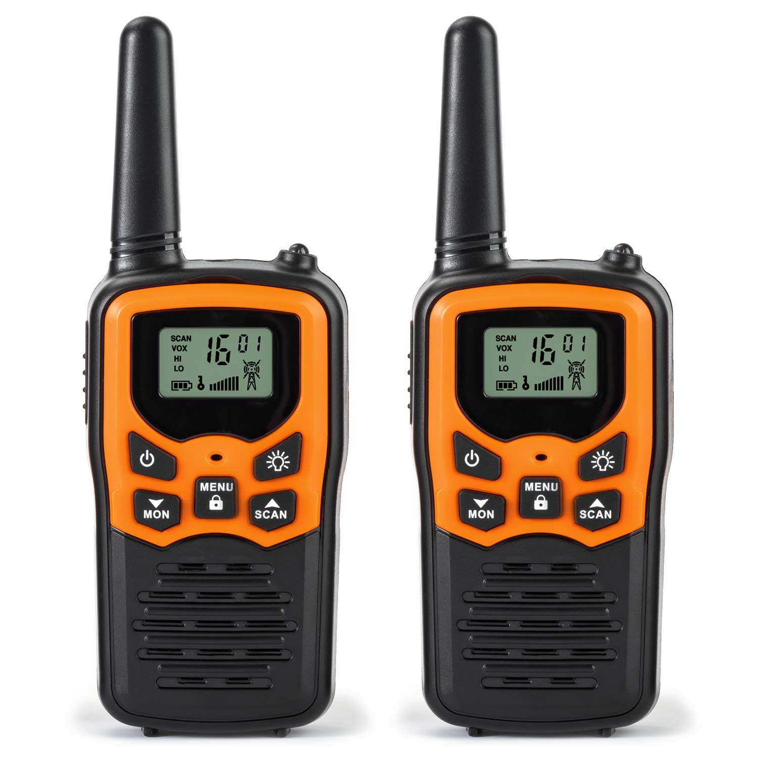 Rivins RV-7 Walkie Talkies for Kids Long Range 2 Pack 2-Way Radios Up to 5 Miles Range in Open Field 22 Channel FRS/GMRS Kids Walkie Talkies UHF Handheld Walky Talky (Black/Orange) by Rivins