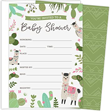 Amazon Com Koko Paper Co Llama Baby Shower Invitations Set Of 25
