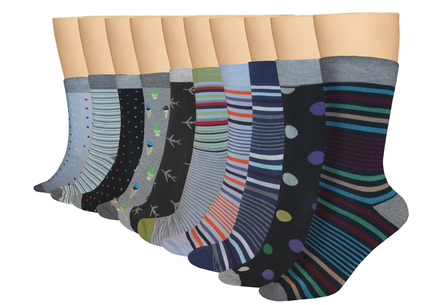 3KB Men's Dress Socks Strong Collection (10 Pairs Per Pack) Shoe Sizes 7 to 11 - Variety of Patterns