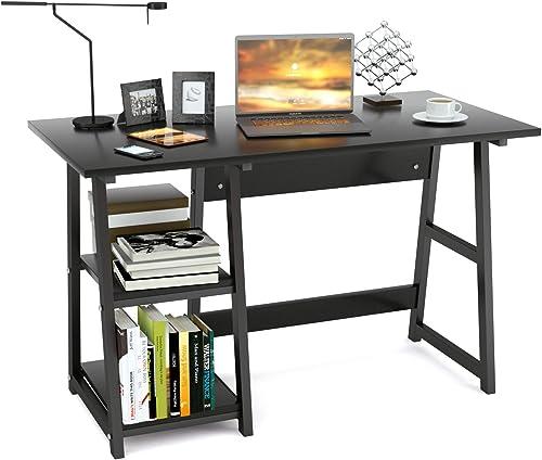 Mecor Writing Computer Desk Trestle Desk Study Desk,Home Office Desk,Wooden Workstation with 2 Removable Tiers Shelves,47.2 Black