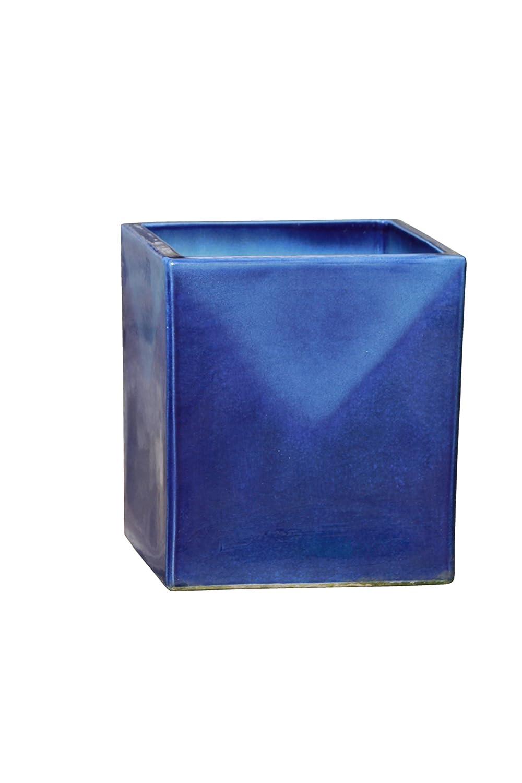Großer Pflanztopf Pflanzkübel eckig frostsicher Größe L 30 x B 30 x H 34 cm, Farbe effekt blau, Form 244.034.64 Pflanzkübel quadratisch Qualität von Hentschke Keramik