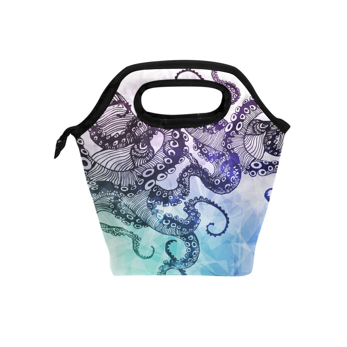 ALAZA Sea Monster Animal Insulated Lunch Tote Bag, Watercolor Octopus Hipster Reusable Waterproof School Picnic Lunchbox Container Organizer For Women Men Kids Boys Girls