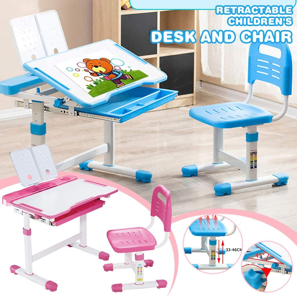 Kids Desk and Chair Set, Height Adjustable Kids Table and Chair Set, Home School Use Anti-Reflective Children Study Table with LED Light/Reading Board/Pull-Out Drawer