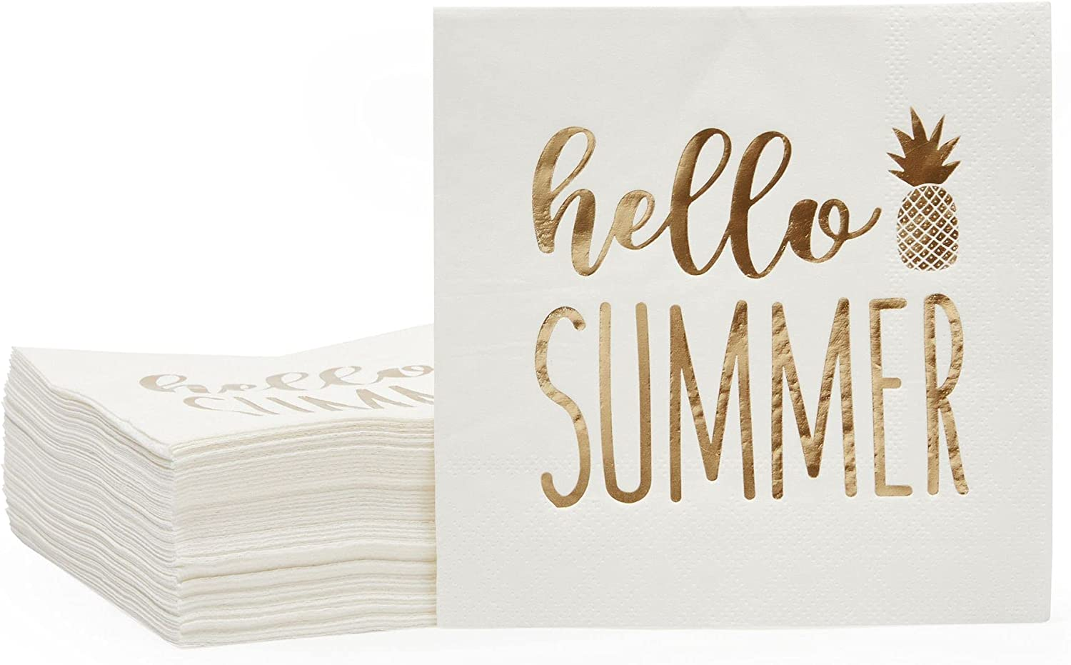 Hello Summer Cocktails Napkins with Gold Foil Pineapple (5x5 In, White, 50 Pack)