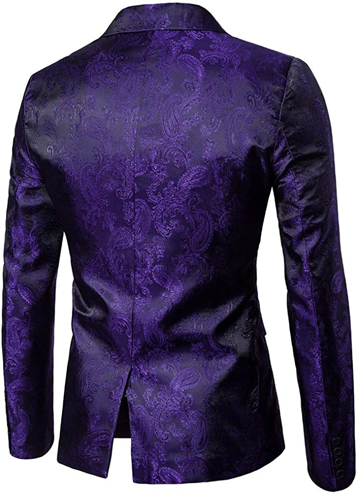 Annstar Mens Casual Blazer Coat Slim Fit Paisley Floral Jacquard One Button Suits Jackets Stylish Coats Chic Jackets Nightclub Long Sleeve Shiny Embossing Dance Tops Party Costume