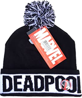 Marvel Comics Deadpool Text Cuff Pom Beanie w/ Button