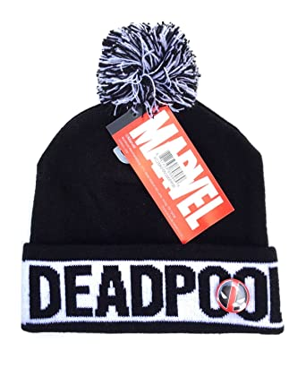 ca6ab73bae1 Image Unavailable. Image not available for. Color  Marvel Comics Deadpool  Text Cuff Pom Beanie ...