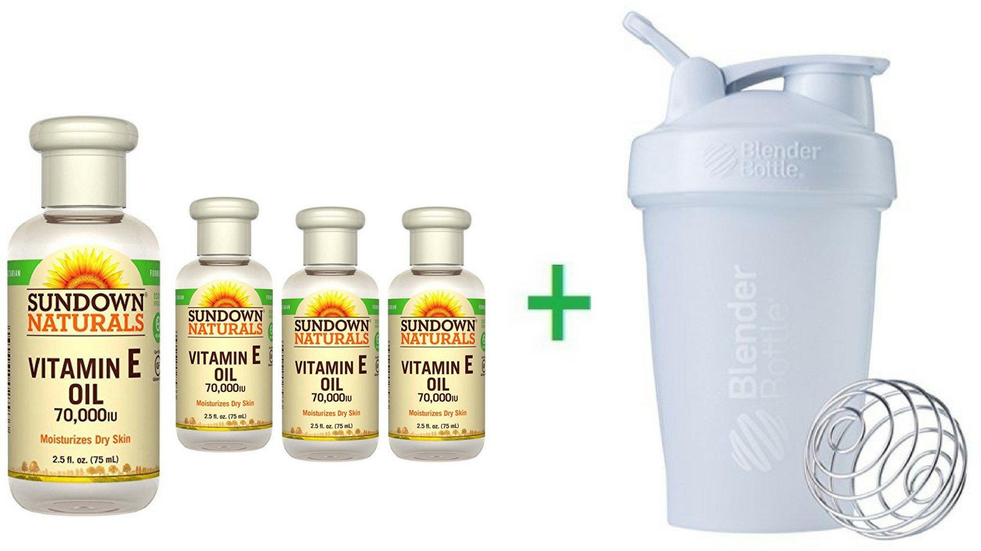 Sundown Naturals, Vitamin E Oil, 70,000 IU, 2.5 fl oz (75 ml) (4 Packs) + Sundesa, BlenderBottle, Classic With Loop, White, 20 oz