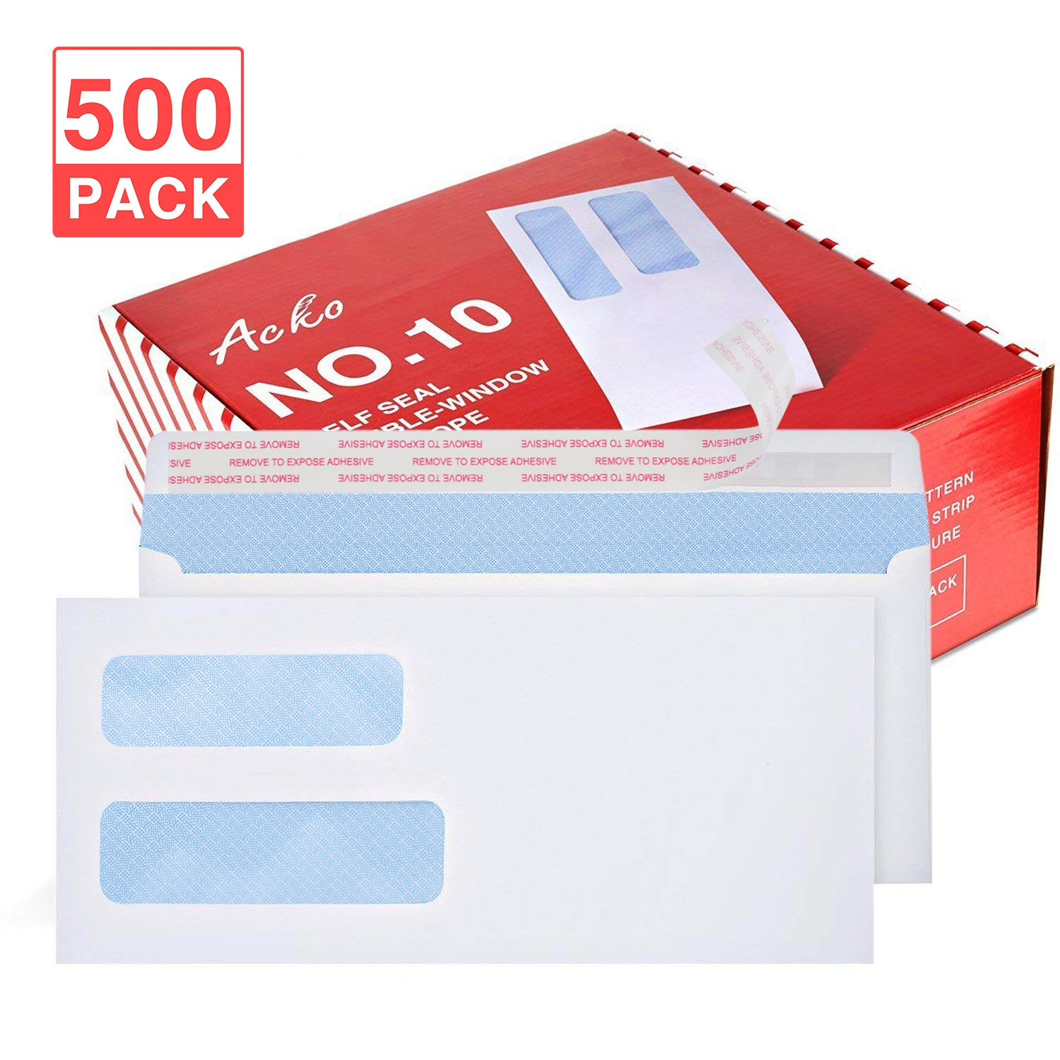 Acko #10 500Pack Double Window Envelopes Quick-Seal Closure Envelopes 4 1/8 x 9 1/2, Security Tint Pattern Designed for Home Office Secure Mailing, Letters and Invoices - White Envelopes 500 Count 00065