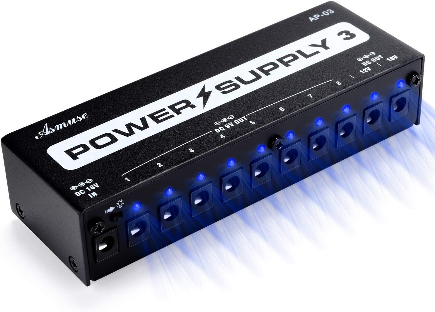 Fuente de alimentación para pedal de guitarra, 10 salidas de CC aisladas (9 V / 12 V / 18 V) para pedales de efectos de bajo de guitarra con puerto de carga USB incorporado para usos múltiples