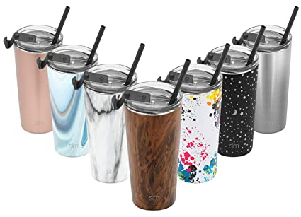 313ca9cd6c5 Simple Modern 20oz Classic Tumbler Travel Mug with Clear Flip Lid & Straw -  Coffee Vacuum Insulated Gift for Men and Women Beer Pint Cup - 18/8  Stainless ...