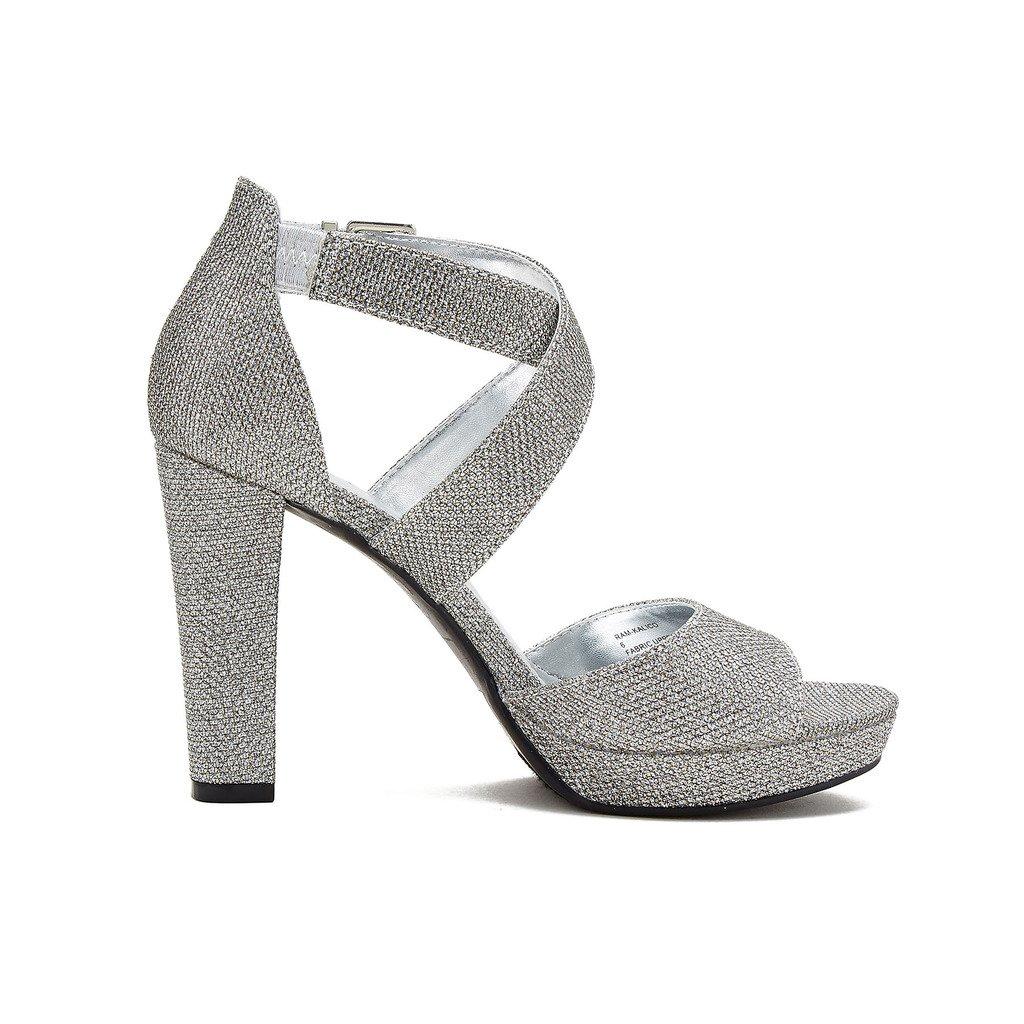 Rampage Women's Kalico Platform Dress with Ankle Strap Sandal,  Pewter Glitter , 9.5 M US