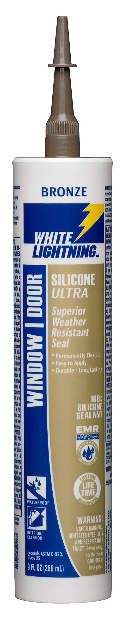 White Lightning W31103510 SILICONE ULTRA Window & Door Sealant, Bronze, 10 ounce