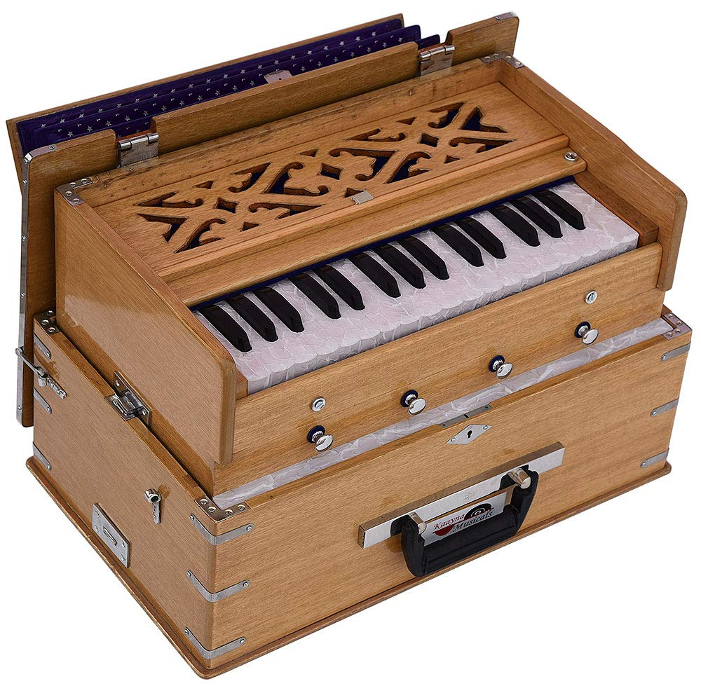 Safri Harmonium- 2¾ Octave By Kaayna Musicals-Portable, Traveler, Baja, 4 Stops (2 Drone), Two Set Reed- Bass/Male, Teak Color, Gig Bag, Tuning: 440 Hz, Suitable for Yoga, Bhajan, Kirtan, Mantra, etc
