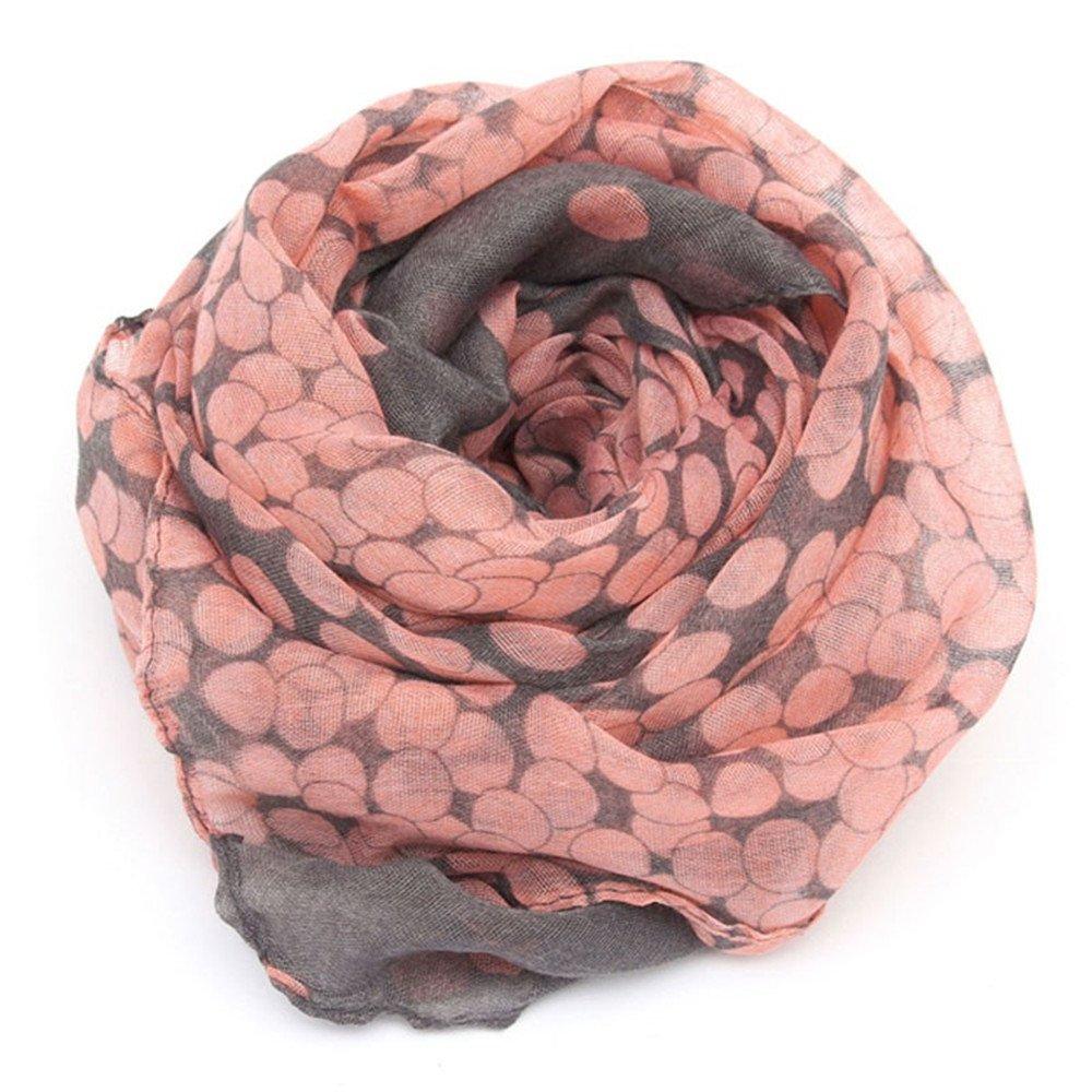 Outstanding® Femmes chauds doux long rose gris Dots écharpe enveloppes châle pour le printemps automne Charmei