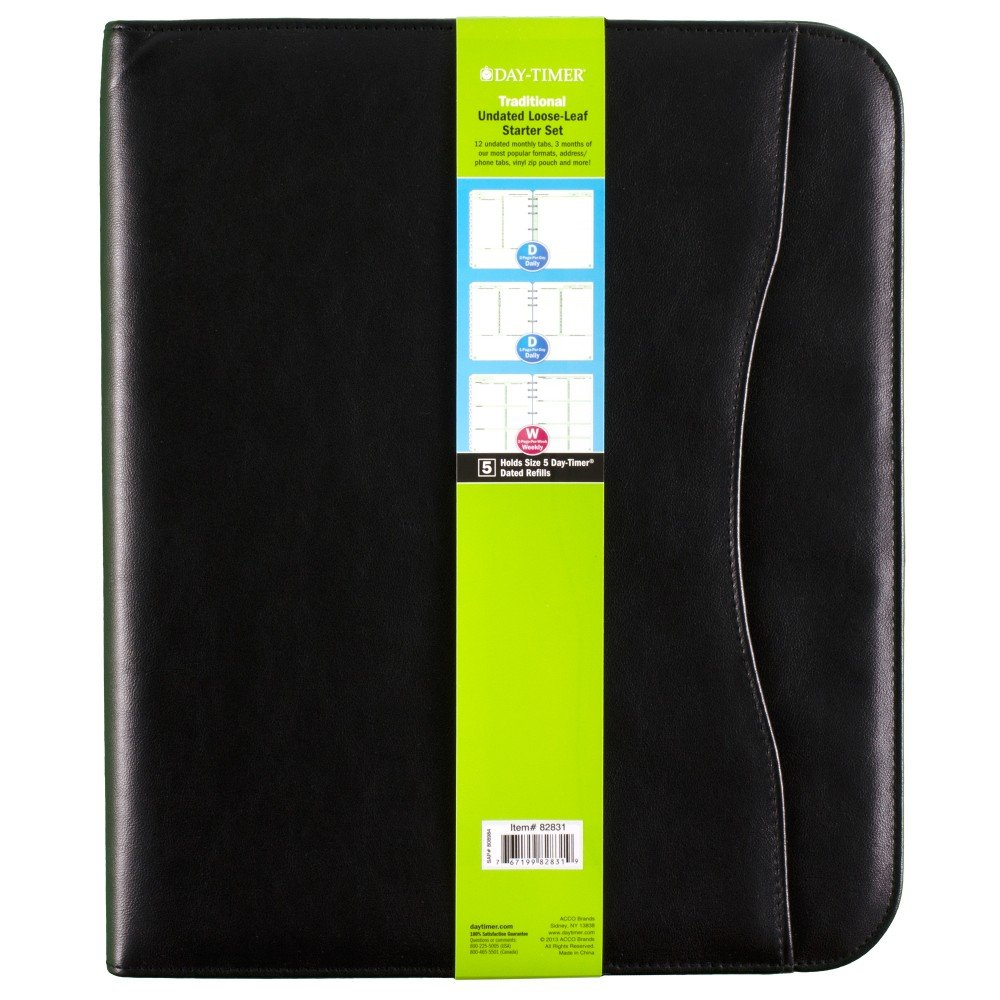 Day-Timer Undated Loose-Leaf Starter Set, Size 5, Avalon Simulated Leather, 8.5 x 11 Inch Page Size, Black (82831-01A) by Day-Timer (Image #1)