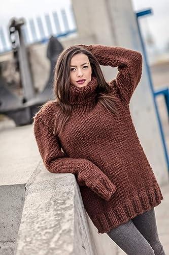 ed8668c5b05 Amazon.com  Hand Knit 100% Brown Wool Sweater