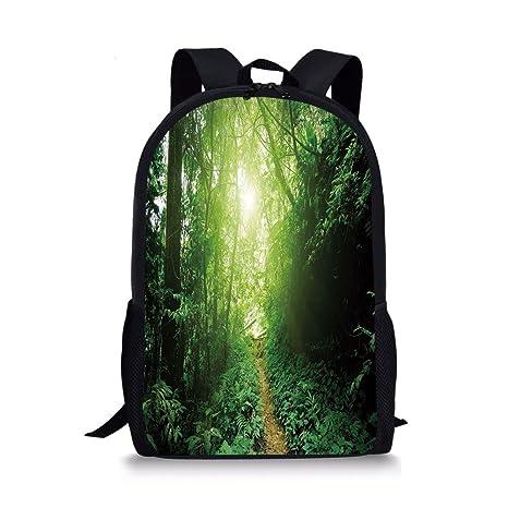 166d1e3945ca Amazon.com: iPrint School Bags Landscape,A Way in the Jungle of ...