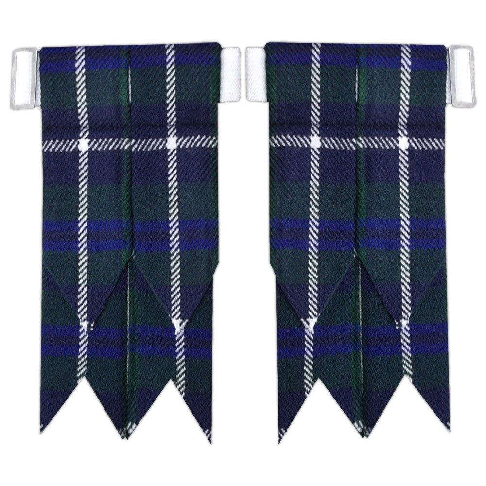 New Solid Plain Black, Royal Stewart Tartan Many More Kilt Flashes Multi Colors (Douglas)