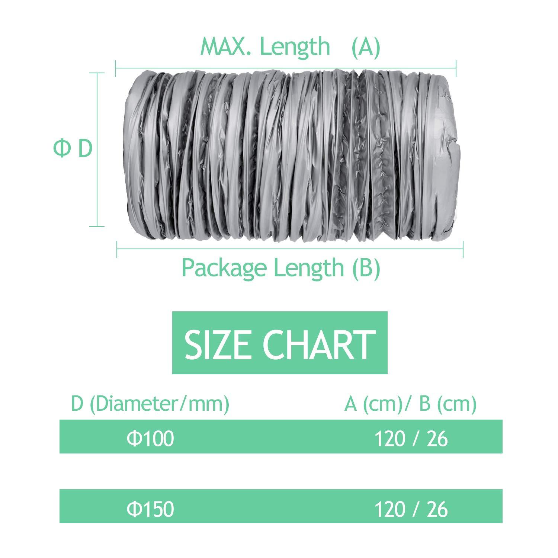 OOPPEN Conduit Dair en Aluminium Isol/é de Silencieux de Conduit de 6 Pouces et de 1,2m R/éducteur de Bruit de Tuyau de Ventilation Flexible pour Ventilateur Dextracteur Int/égr/é /ø150*1.2m