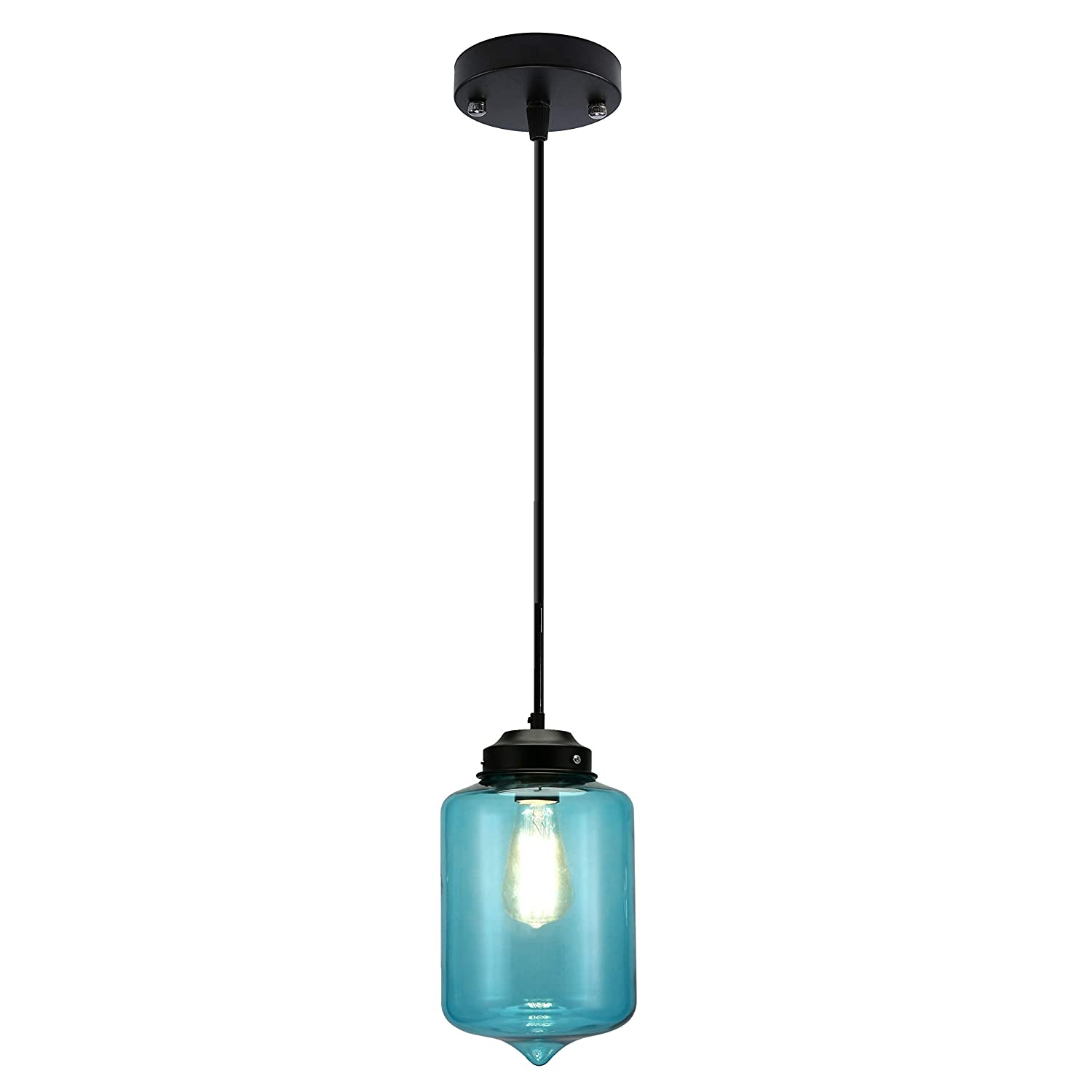 Lampmall Pendant Lighting Handblown Glass Drop Ceiling Lights, Organic Contemporary Style Hanging Light, Bulb not Included (Blue)