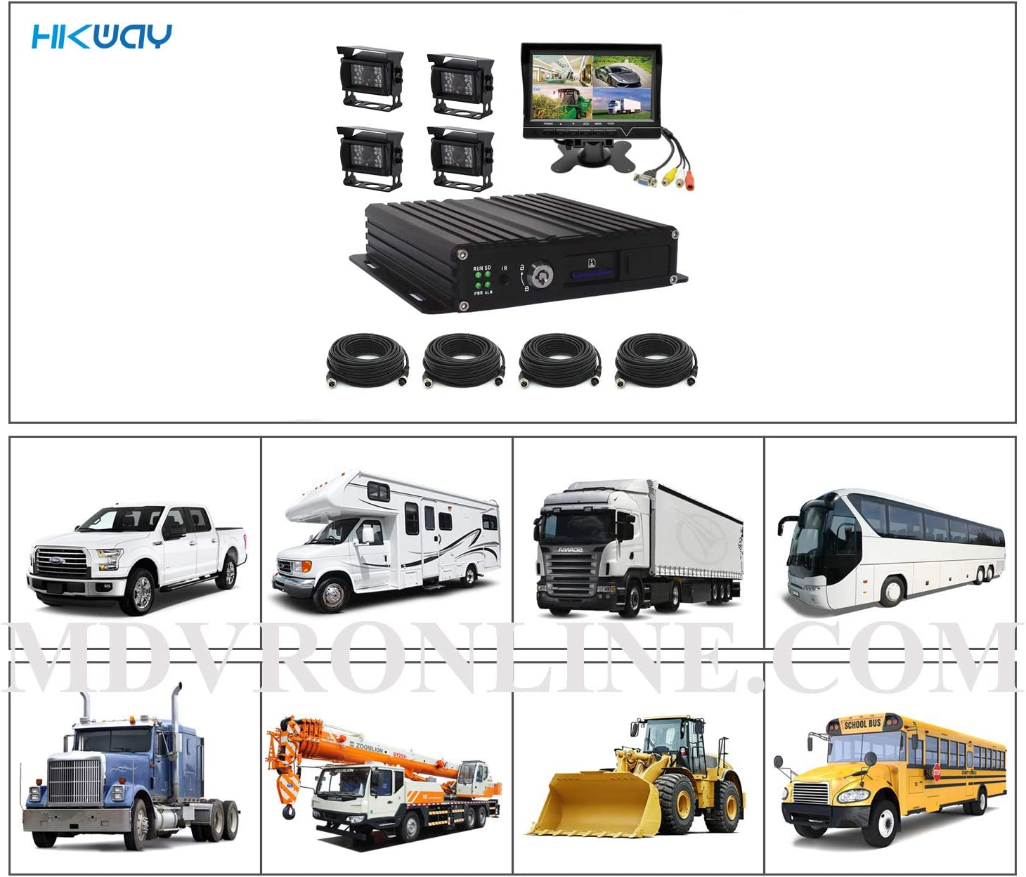 Standard MDVR HIKWAY MDVR Kit 4 Channel H.264 AHD 720P SD Mobile DVR 128GB SD Included Vehicle MDVR CCTV Video Recorder Kit Night Vision Waterproof Car Rear and Side View Camera 7 inch Car Monitor