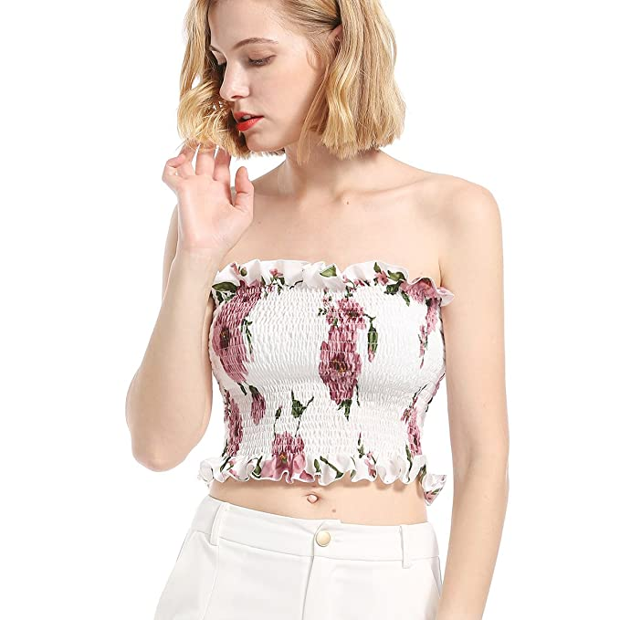 e7e4a5027fc1e7 vnytop Women Summer Floral Print Wrap Ruffle Crop Top Slim Fit Short  Strapless Blouse at Amazon Women s Clothing store