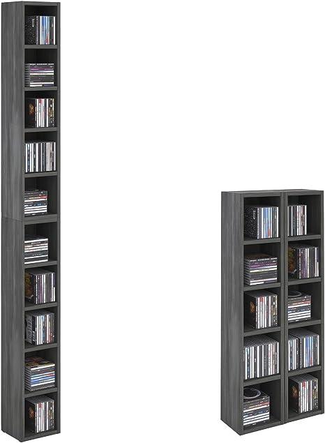 CARO-Möbel CD DVD Estantería Chart Soporte Madera de imitación Fresno Gris con 10 Compartimentos para Guardar hasta 160 CD, 20 x 186,5 cm (Ancho x ...