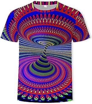XIAOHU 3D imprimió Camisetas Camisetas Hombres Camiseta psicodélica Estampado mareos Camisetas Casual Negro Agujero Estampado Negro Camiseta 3D: Amazon.es: Deportes y aire libre