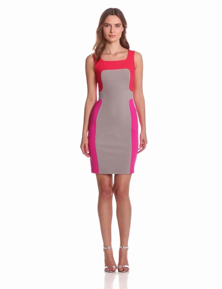 Yoana Baraschi Womens Murano Color Block Sheath Dress, Coral/Beige/Pink, 10