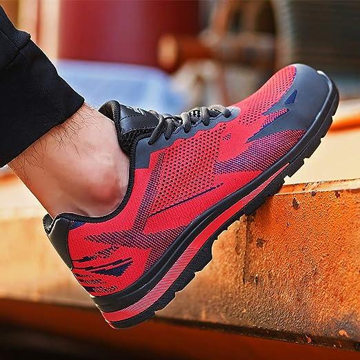 Zapatos de seguridad Zapatillas deportivas for correr, amortiguador de peso, gimnasia liviana, tejido for volar, caminar cómodo, desodorante, calzado deportivo, movimiento anti, ácaro, a prueba de pin: Amazon.es: Hogar