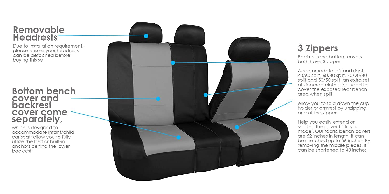 Pair Set Buckets Airbag Ready FH Group FH-FB083102 Neoprene Waterproof Car Seat Covers Black