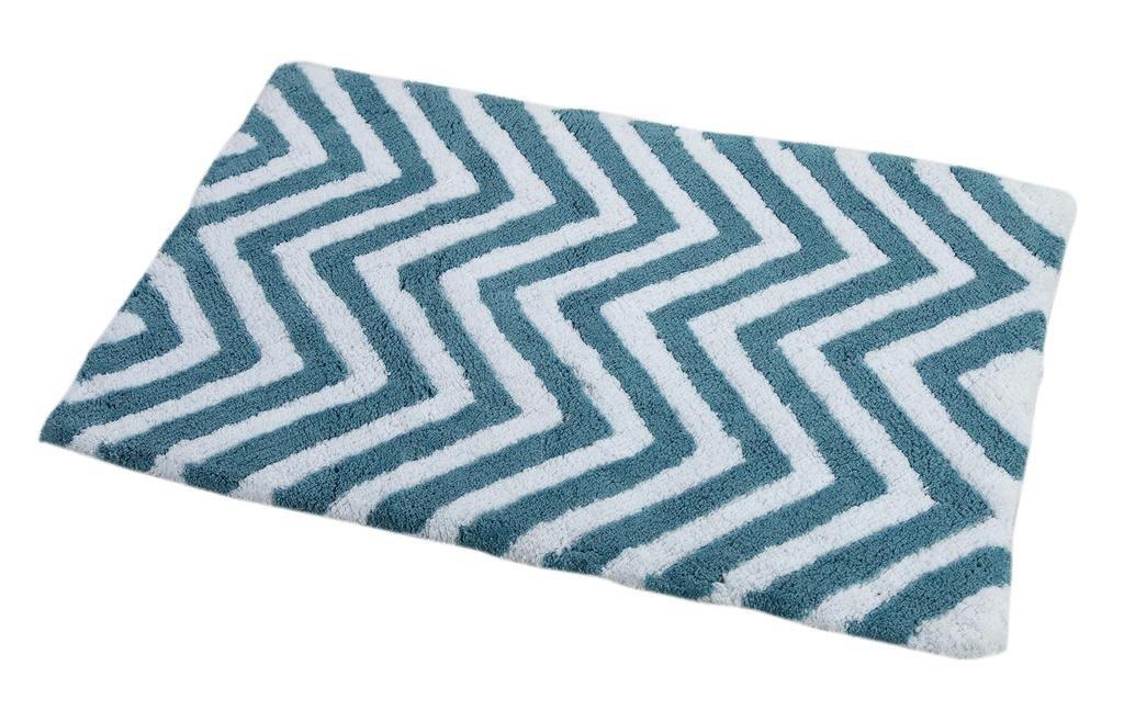 WARISI - 2 Piece Chevron Pedestal Collection - Designer Plush, Cotton Bath Rug and contour, 34 x 21 and 21 x 21(Aqua Blue White) by WARISI (Image #3)