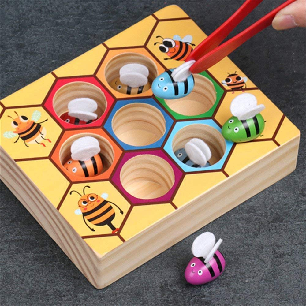 Children Preschool Wooden Bee Clip Out Montessori Educational Toy Kids Gift