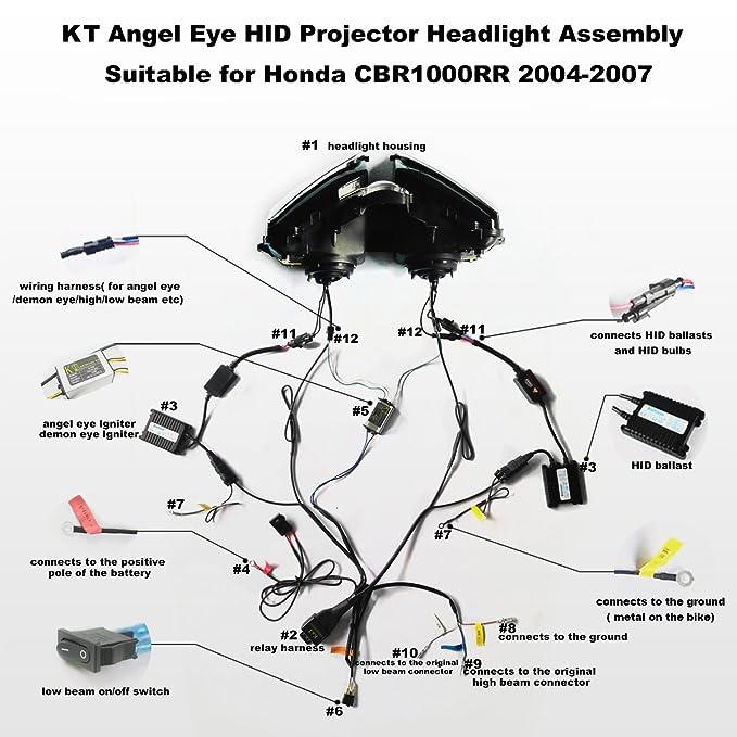 KT - Faro LED Angel Eye Asamblea para Honda CBR1000RR 2004 ... Cbr Rr Wiring Diagram on cbr 954 rr, cbr 900 rr, honda 1000 rr, cbr 250 rr, cbr 600 rr, cbr 929 rr,