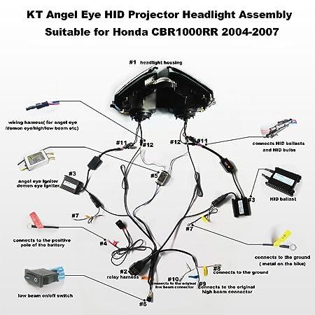 amazon com kt led angel eye headlight assembly for honda Trx 300Ex Wiring Diagram