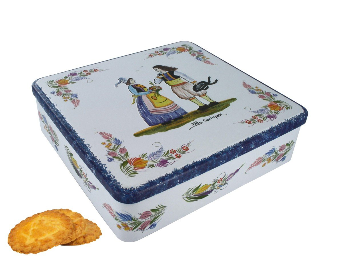 La Trinitaine, French Brittany Galettes au Beurre (Butter Cookies) in Mini Quimper Tin, Faience Couple, 4.6 OZ