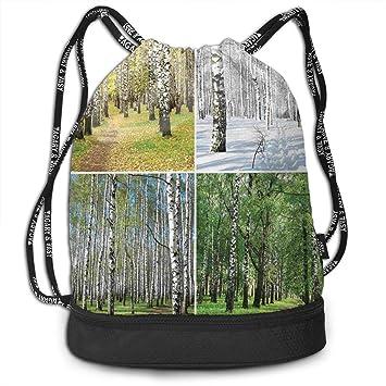 RAINNY Pathway in Woodland Birch Tree Jungle Yoga Drawstring ...