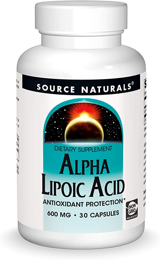 Source Naturals Alpha Lipoic Acid 600 mg Supports Healthy Sugar Metabolism, Liver Function & Energy Generation - 30 Capsules